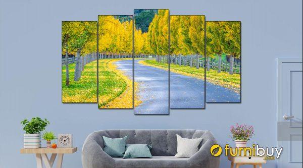 Hình ảnh Bức tranh đẹp hàng cây phong cảnh mùa thu Hàn Quốc rất tình