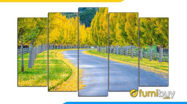 Hình ảnh Tranh hàng cây mùa thu Hàn Quốc treo tường 5 tấm đẹp hiện đại